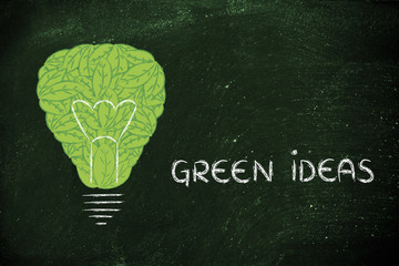 lightbulb made of leaves, concept of green economy