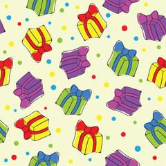 Seamless hand drawn present pattern