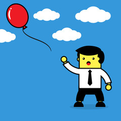 Businessman lost balloon.
