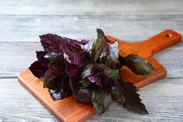 basil leaves  on chopping board