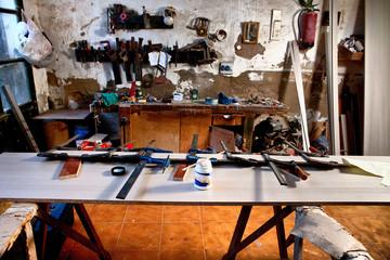 Old dusty carpenter workshop