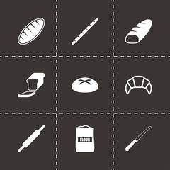 Vector black bakery icon set