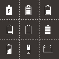 Vector black battery icon set