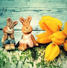Osterkarte - kleines Hasenpärchen