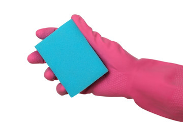 Cleaning equipment, hand in glove holding sponge, isolated