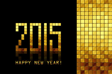 Vector - Happy New Year 2015 - golden mosaic background