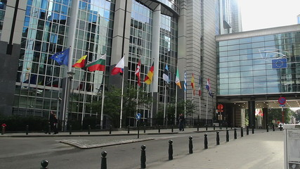 European Parliament building headquarters in Brussels Belgium EU