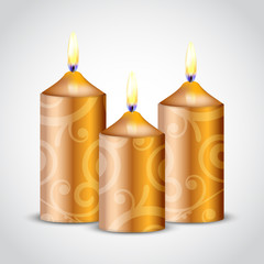 Vector illustration of gold ornate candles