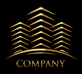 Vector icon of gold buildings with space for your text