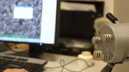 Modern digital microscope in a lab