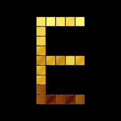 Vector illustration of shiny gold letter - E