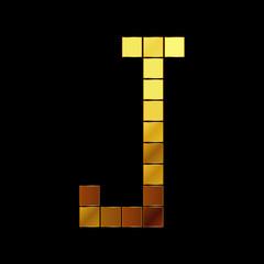Vector illustration of shiny gold letter - J