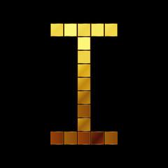 Vector illustration of shiny gold letter - I