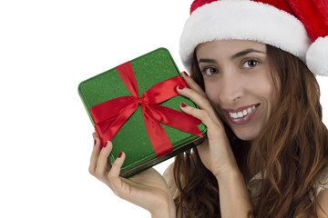 Close up of Christmas woman showing a gift box