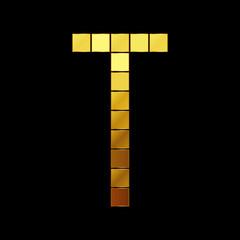 Vector illustration of shiny gold letter - T