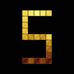 Vector illustration of shiny gold letter - S