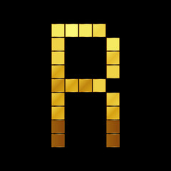 Vector illustration of shiny gold letter - R