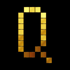 Vector illustration of shiny gold letter - Q