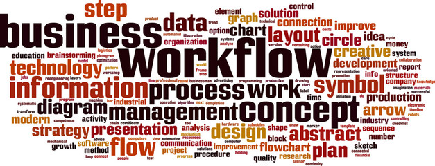 Workflow word cloud concept. Vector illustration