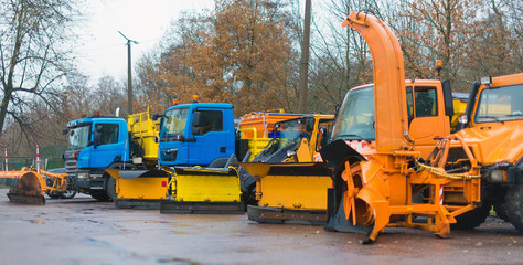 Road services are ready for winter. Winter service vehicles.