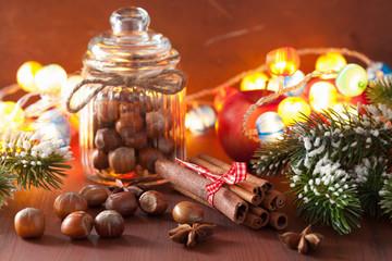 winter decoration spices cinnamon christmas tree nuts
