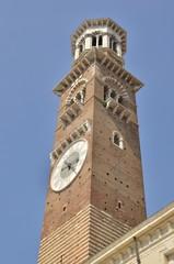 Tower in  Piazza delle Erbe; verona, Italy