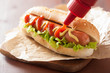 canvas print picture - hot dog with ketchup mustard and lettuce
