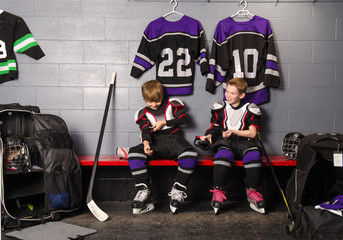 Hockey Arena Boys in Rink Dressing Room