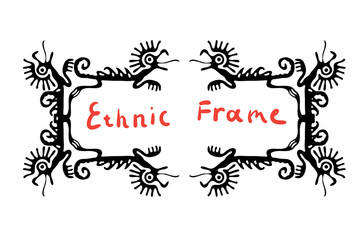 Black frame element with dragons, vector