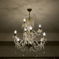 Chrystal chandelier close-up with copy space