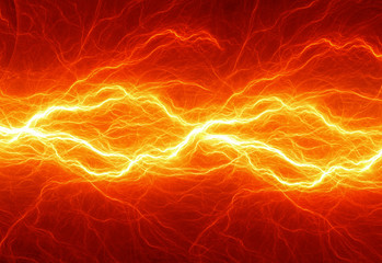 Fiery lightning, burning electrical background