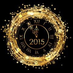 2015 - Vector shiny New Year Clock