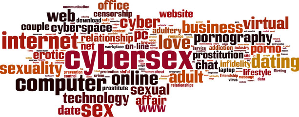Cybersex word cloud concept. Vector illustration