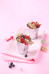 Red, White and Black Currants in two little buckets