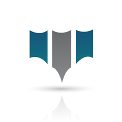 Blue and Gray Abstract Icon Illustration
