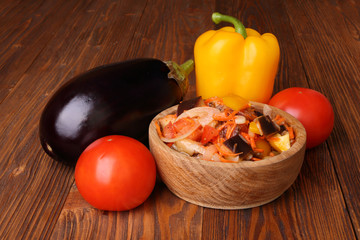 Vegetable salad with eggplant and other ingredients