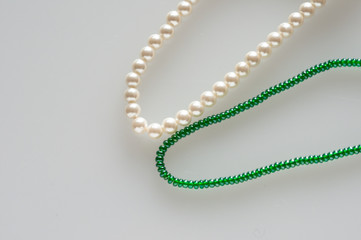 green and white chaplet, image detail