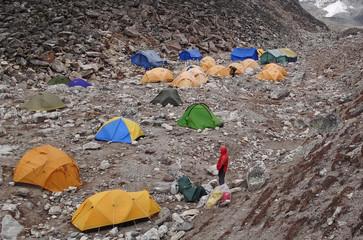 Camp de base de l'Island Peak à 5087m - Himalaya, Népal