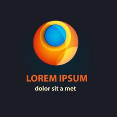 Vector Sci-fi logo Template. Hi-tech Orange Sphere