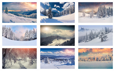 Winter collage with 9 different Christmas landscapes.