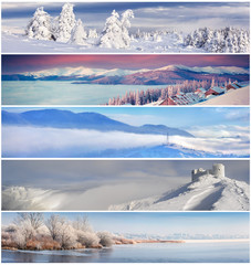 Winter collage with 5 different Christmas landscape for banners.