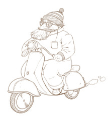 An elderly man on a moped, outline drawing.