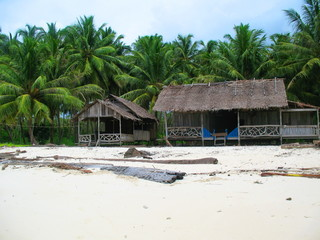 Fisherman hut by the beach in Indonesia