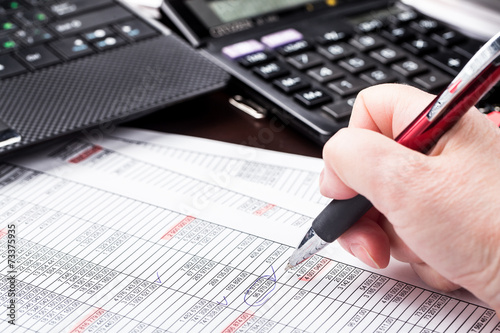 Business woman working with documents in office - 73375935