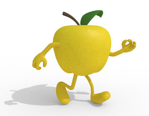 yellow apple with arms and legs