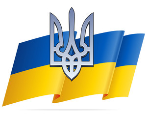 Ukraininan Flag and Chrome Trident