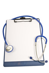Clipboard With Stethoscope and Blank Paper
