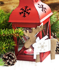 Christmas Lantern with Reindeer Wooden Decoration