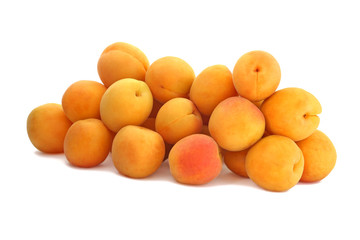 The pile of apricots isolated on white background