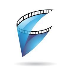 Blue Transparent Film Reel Icon